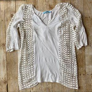 Solitaire Swim White mesh swimsuit coverup size L